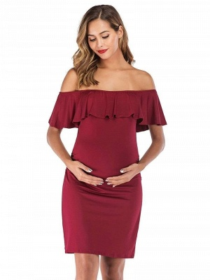 Bodycon Off-the-Shoulder Fitting Maternity Ruffles Breastfeeding Dress_4