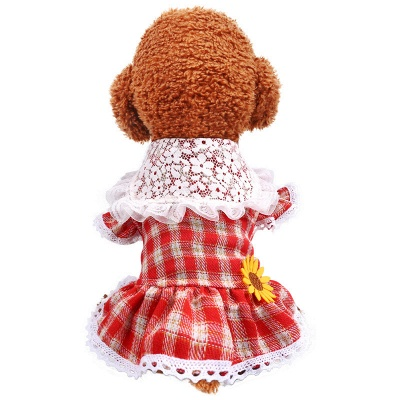 Lovely Grid Lace Ruffles Puppy T Shirt With Flowers