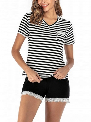 Two Pieces V Neck Lace Nightwear Modern Stripes Pajamas Online_3