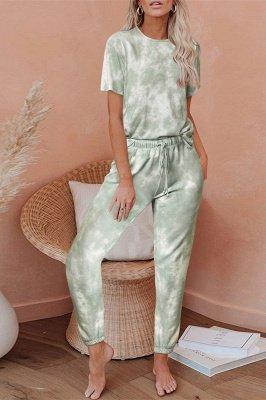 Tie-dye Pijamas de manga corta Impresión en línea Ocio Damas Ropa de hogar en línea_10