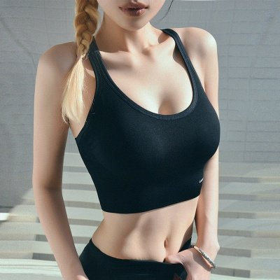 Women High Impact Fitness Sports Bra Solid Color Yoga Bra Backless Gym Underwear
