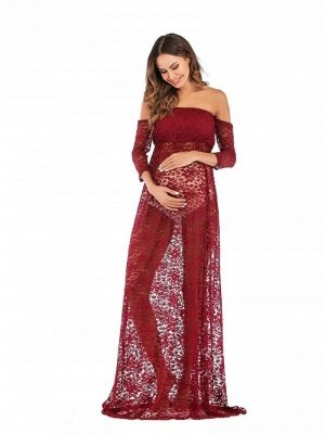 Sexy Strapless Burgundy Half-sleeves See-through Lace Maternity Dress_4