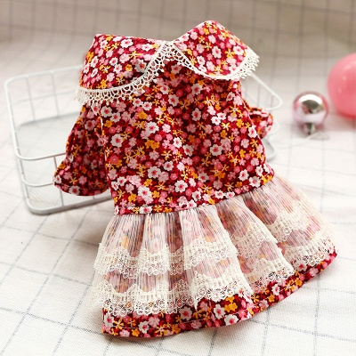 Floral Short Sleeve Small Pets Skirt | Lace Ruffles Dog Cloth_1