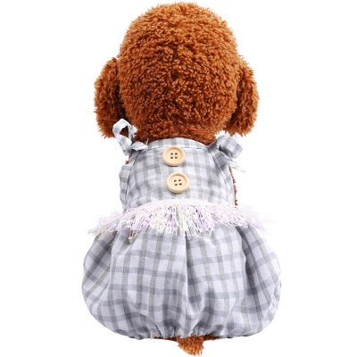 Lovely Straps Grid Dog jumpsuit | Puppy Apparel_2
