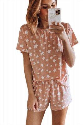 Pijama de manga corta con efecto tie-dye Ropa de casa de dos piezas estampada de verano en línea_2