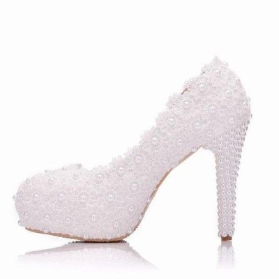Women's with Pearls Across Ankle Top High Heel Wedding Shoes