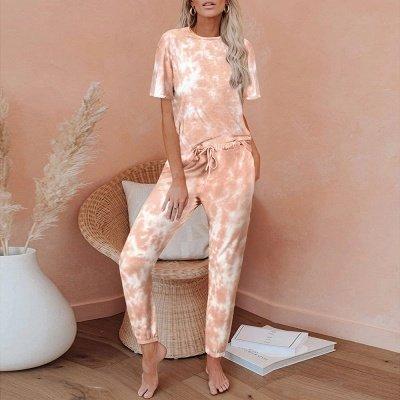 Tie-dye Pijamas de manga corta Impresión en línea Ocio Damas Ropa de hogar en línea_1