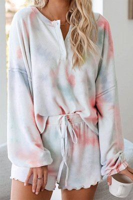 Summer Tie-dyed Pajamas Online Leisure Breathable Long Sleeves Homewear Online