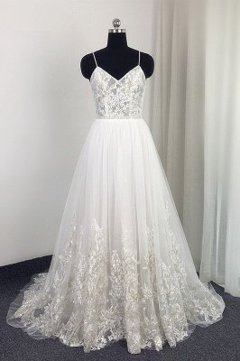 Spaghetti Straps Lace Appliques Tulle Wedding Dress