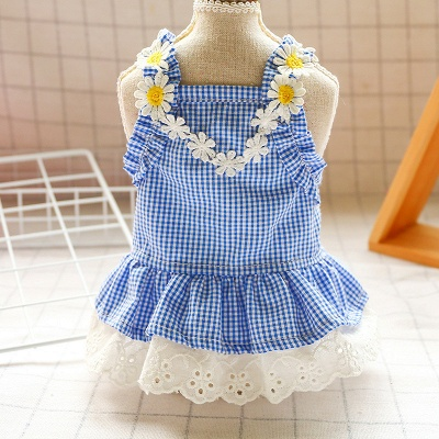 Sky Blue Grid Puppy Pets Skirt | Lace Ruffles Dog Outfit