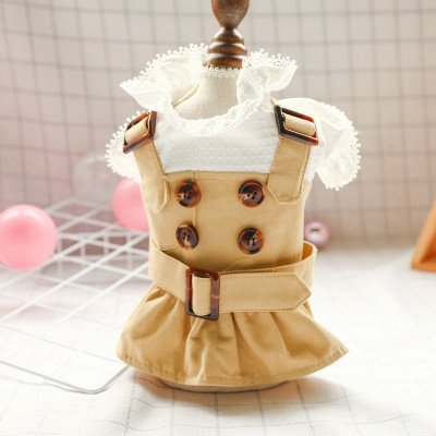 Khaki Lovely Short Sleeve Dog Skirts With Jacket | Sash Pets Cloth
