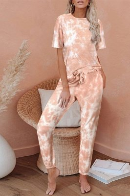Tie-dye Short-sleeved Pajamas Online Printing Leisure Ladies Home Wear Online