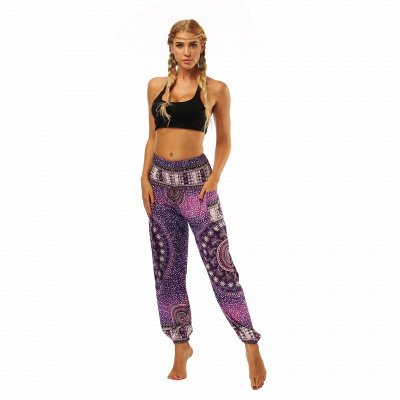 Yoga Harem Pants Bohemia Women's Pants Elastic Waist Wide Leg Casual Trousers