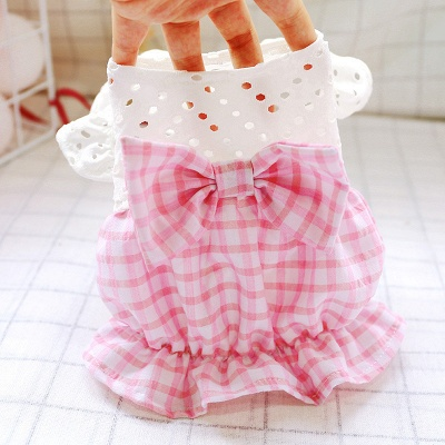 Pink Short Sleeve Grid Dog Cloth With Bow For Small Pets_3