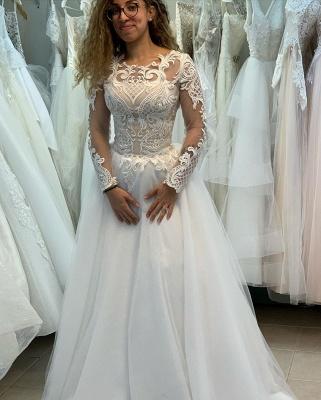 Manches longues Col Illusion A-ligne Manches longues Robe de mariée princesse en dentelle_4
