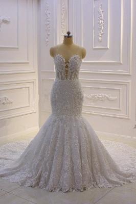 Vestido de novia de sirena de tul de cuello alto con apliques de encaje 3D de lujo_2