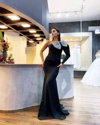 Élégantes robes de soirée noires à une épaule et à paillettes_2