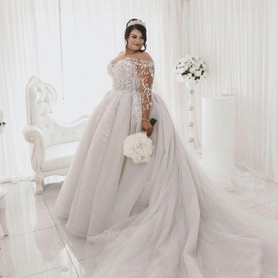 Sheer Tulle Appliques Ball Gown Wedding Dresses   Plus Size Long Sleeve Bridal Gowns_4