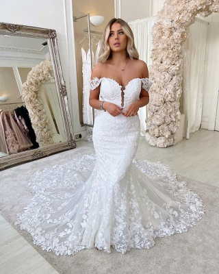 Off The Shoulder Mermaid Appliques Wedding Dresses | Lace Backless Bridal Gowns_2