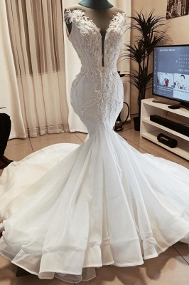 Sleeveless Beads Appliques Mermaid Wedding Dresses | Sheer Tulle V-neck Tulle Bridal Gowns_1
