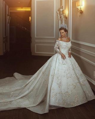 Luxus Shiny Crystal Appliques Ballkleid Brautkleider | Off The Shoulder Langarm-Brautkleider_4