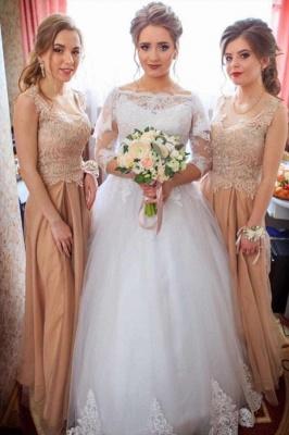 Spitzenapplikationen Langarm Brautkleider   Tüll bodenlange Brautkleider_1