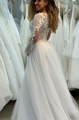 Manches longues Col Illusion A-ligne Manches longues Robe de mariée princesse en dentelle_2