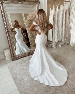 Off The Shoulder Mermaid Wedding Dresses | Chic Sleeveless Bridal Gowns Online_2