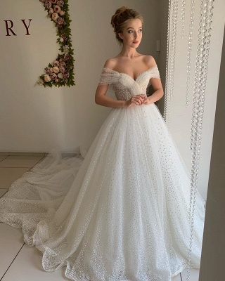 Trendy Off-the-shoulder Princess Pearl White Ball Gown Wedding Dresses_3