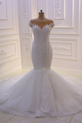 Off-the-Shoulder Sweetheart White Lace Appliques Tulle Mermaid Wedding Dress_2
