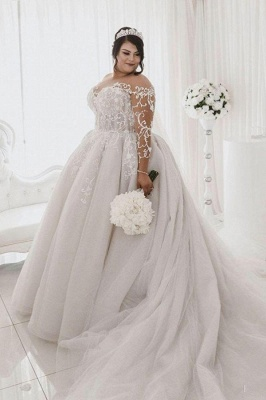 Sheer Tulle Appliques Ball Gown Wedding Dresses   Plus Size Long Sleeve Bridal Gowns_1