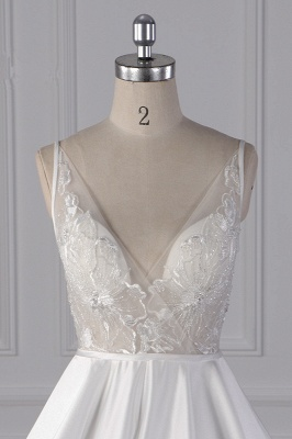 Straps Beads Appliques Ball Gown Wedding Dresses | Sexy V-neck Backless Bridal Gowns_3