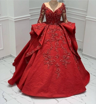 Burgundy Lace Appliques Long sleeves V-neck Ruffles Ball Gowns Evening Gowns_2