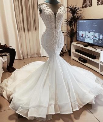 Sleeveless Beads Appliques Mermaid Wedding Dresses | Sheer Tulle V-neck Tulle Bridal Gowns_2