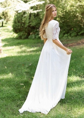 A-line Lace Short Sleeve Wedding Dresses   Tulle Pleated Cheap Bridal Gowns_2