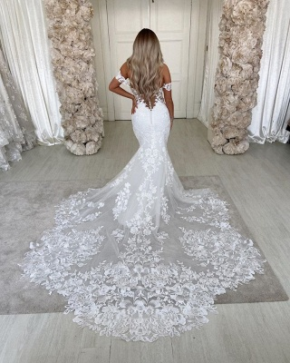 Off The Shoulder Mermaid Appliques Wedding Dresses | Lace Backless Bridal Gowns_4