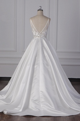 Straps Beads Appliques Ball Gown Wedding Dresses | Sexy V-neck Backless Bridal Gowns_6