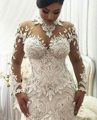 High Neck Beads Appliques Mermaid Wedding Dresses | Sheer Tulle Long Sleeve Bridal Gowns_2