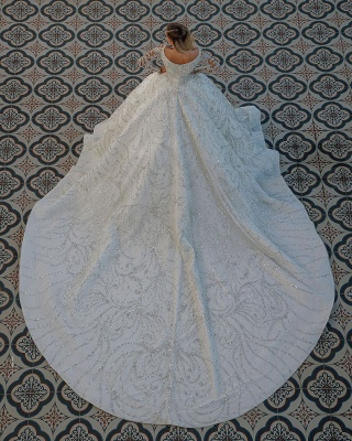 Square neck Lace Ball Gown Long sleeves Wedding Dresses_2