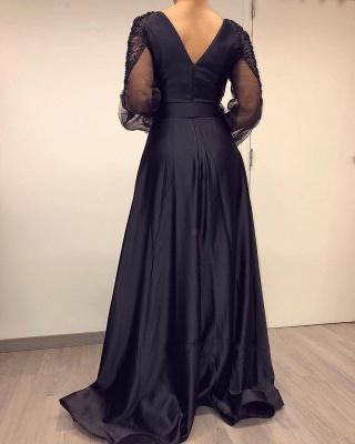 Длинные рукава Черный V-образным вырезом с длинными рукавами епископ Вечерние платья_3