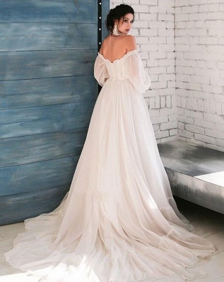Off The Shoulder Cheap Boho Wedding Dresses | A-line Pleated Bridal Gowns_2