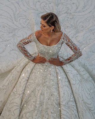 Square neck Lace Ball Gown Long sleeves Wedding Dresses_3