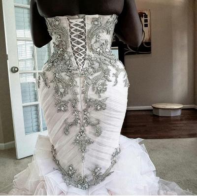 Plus Size Mermaid Crystal Lace Beads Sweetheart Long Train African Custom Made Ruffles Wedding Dresses_5