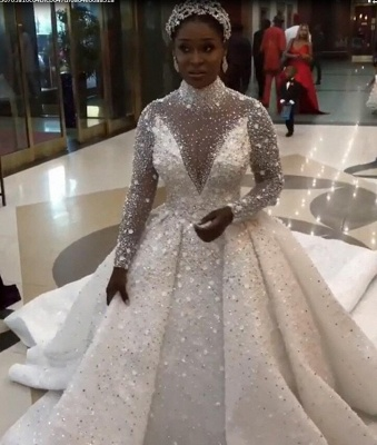 Gorgeous Sparkling Crystal Beads Ball Gown Wedding Dresses   High Neck Long Sleeve Bridal Gowns_4