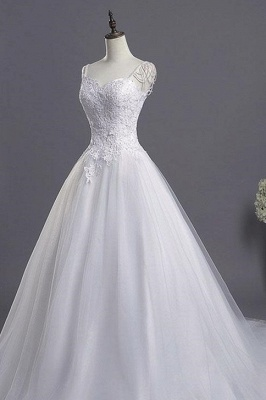 Sweetheart Beading Appliques A-line Wedding Dresses | Chic Tulle Pleated Bridal Gowns_2