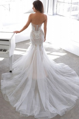 Simple Summer style White Sweetheart Mermaid Lace Wedding Dress Online_2