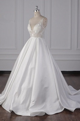 Straps Beads Appliques Ball Gown Wedding Dresses | Sexy V-neck Backless Bridal Gowns_4
