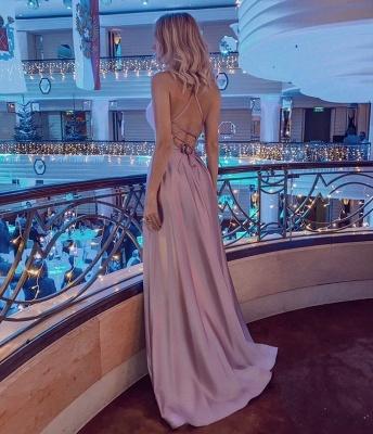 Simple Halter Backless Dusty Pink High split Long evening Dresses_2