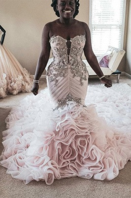 Plus Size Mermaid Crystal Lace Beads Sweetheart Long Train African Custom Made Ruffles Wedding Dresses_1