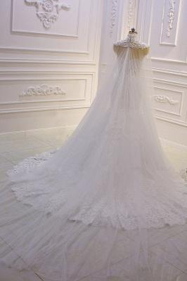 Vestido de novia de sirena de tul de cuello alto con apliques de encaje 3D de lujo_5